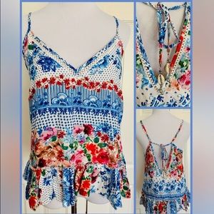 Tops - Floral boho cami with shell tie backs